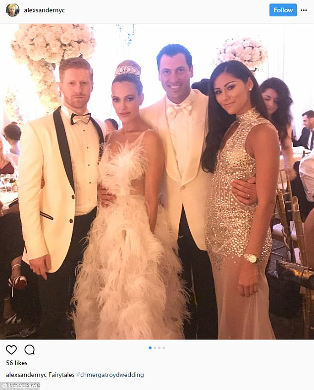 The bride and groom: Here Maks and Peta posed with friends at the reception