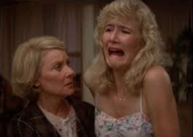 Big moment: The scene shows Laura's iconic 'cry face' from the 1986 David Lynch classic