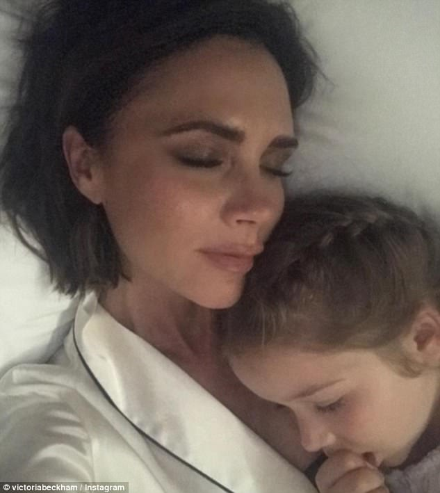 Sweet: Just a day before celebrating her daughter's birthday, Victoria had shared a snap of herself and Harper snuggled up together