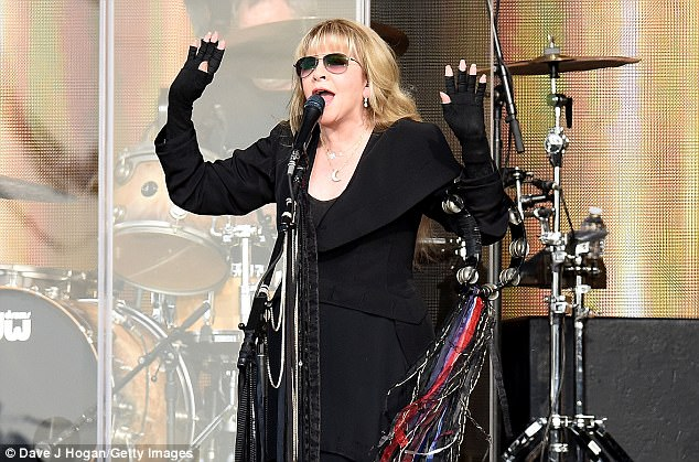 Fun-filled day: She was in the stands to see the likes of The Lumineers and Stevie Nicks (pictured above) take to the stage