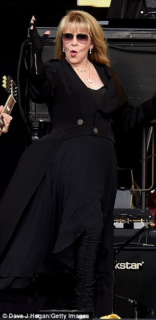 Music legend: Clad in an all-black ensemble Stevie performed a series of her hits for the huge crowds that had gathered as British Summer Time comes to a close