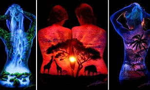 Illuminated UV paintings on women's backs celebrate beauty of female form and spectacular scenes from nature