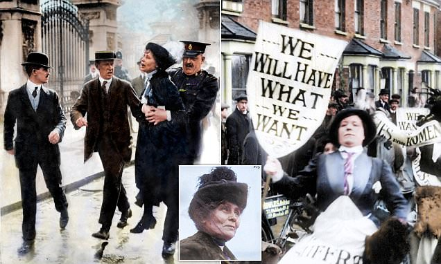 Emmeline Pankhurst and suffragettes in colourised photos