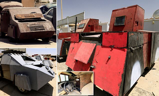 ISIS's modified cars wrapped in bulletproof metal sheets