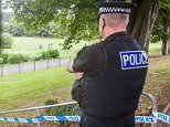 A 15-year-old girl has died after suffering an adverse reaction after taking drugs in a park with friends. Pictured above, an officer on scene watch in Newton Abbot, Devon, this afternoon