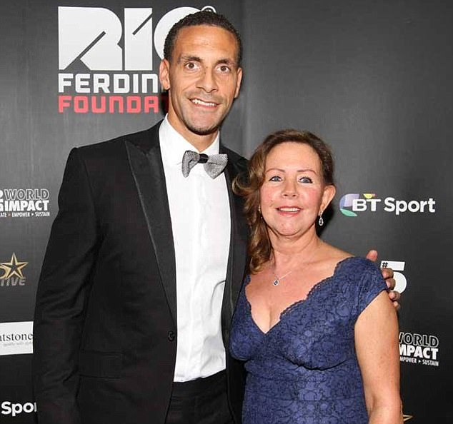 Footballer Rio Ferdinand (left) has been left heartbroken after the death of his 'devoted' mother (right) from cancer - just two years after his wife tragically lost her battle against breast cancer