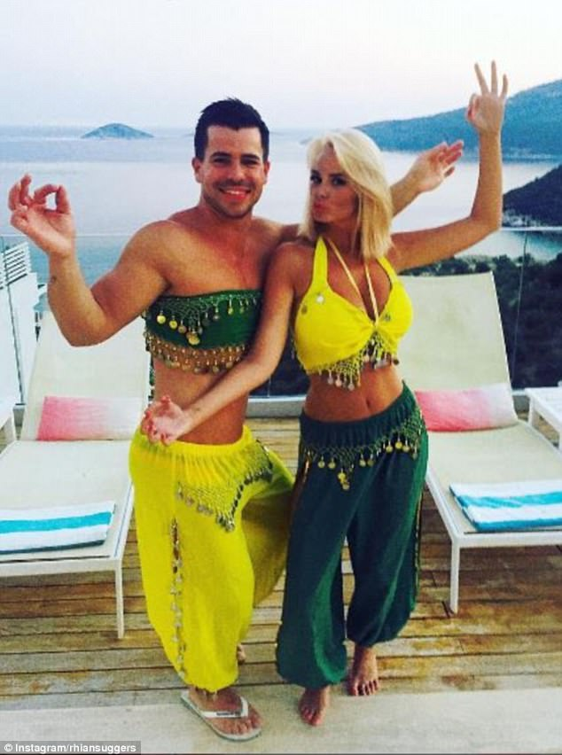 Hilarious: She had been joined by her fiancé Oliver Mellor for the vacation and took a break from posting her sizzling bikini snaps to share a hilarious photo with her beau.