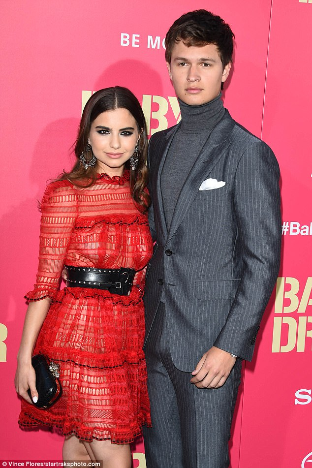 Sweethearts: The couple, who started dating while in high school in 2012, attended the Los Angeles premiere of Baby Driver last month