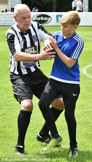 One of Gazza's nephews gave him a run for his money on the pitch - getting into a challenging tackle