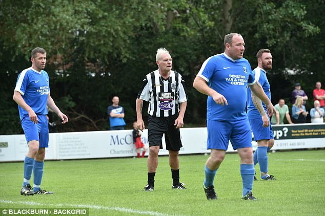 The healthy-looking former footballer donned a Newcastle United strip for a match in memory of fellow player Pavel Srnicek