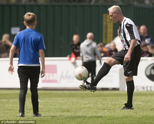 He even managed a few keepy-ups while on the pitch - much to the amusement of the crowd