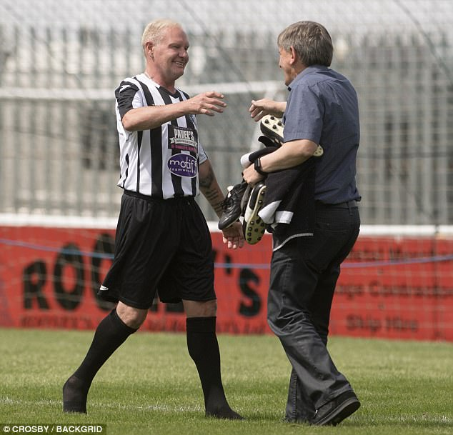 At one point Gazza went in for a hug with friend and fellow former footballer Peter Beardsley who he looked delighted to see