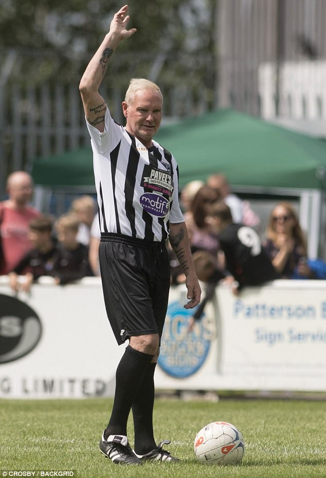 Gazza was happy to wave to the crowds who cheered as he played football today