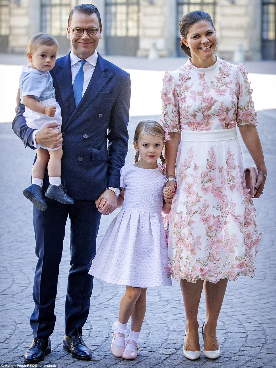 Birthday girl: Princess Victoria with husband Daniel and their children at celebrations in Stockholm yesterday