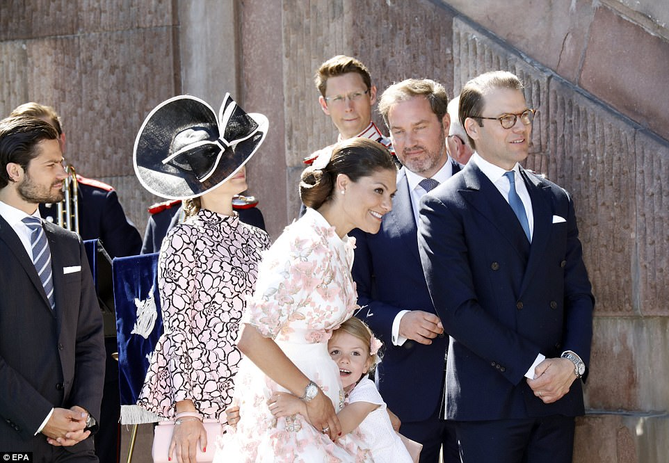 Cuddle: Princess Estelle leaned in for a hug from her mother, Princess Victoria, on her birthday on Friday