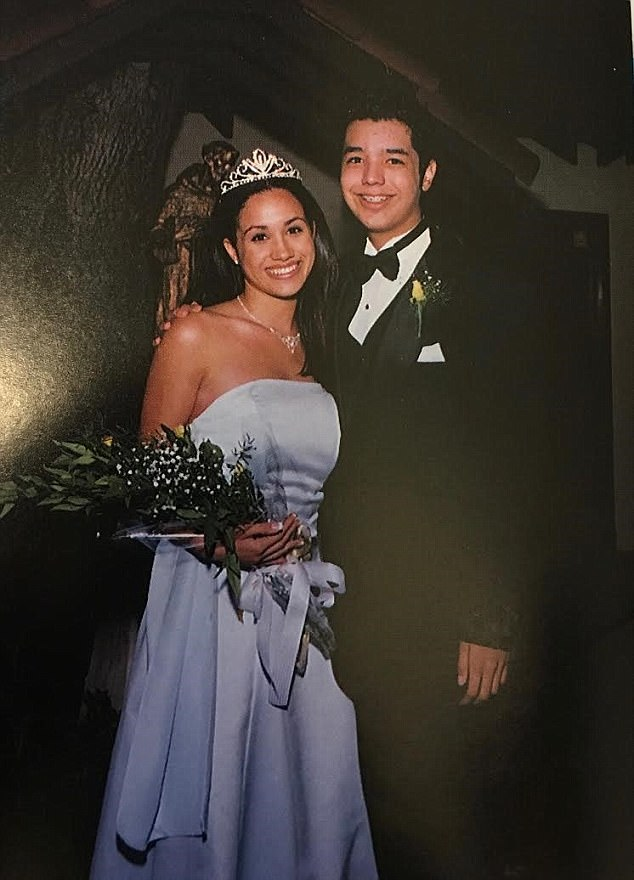 Meghan Markle as homecoming queen pictured at her high school prom when she was age 17