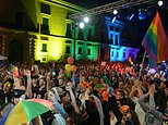 A file photo shows people celebrating the approval of a civil unions bill in the Maltese capital on April 14, 2014