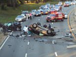 One man was killed and eight other people were injured in an early morning car crash in Queens, New York on Sunday