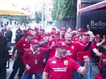 British Lions fans belted out a lighthearted version of the legendary All Blacks pregame ritual they called the 'Yorkshire haka' on an Auckland street