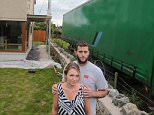 A giant green lorry trailer was parked outside the home of Sophia and Gwyn Hughes inAnglesey