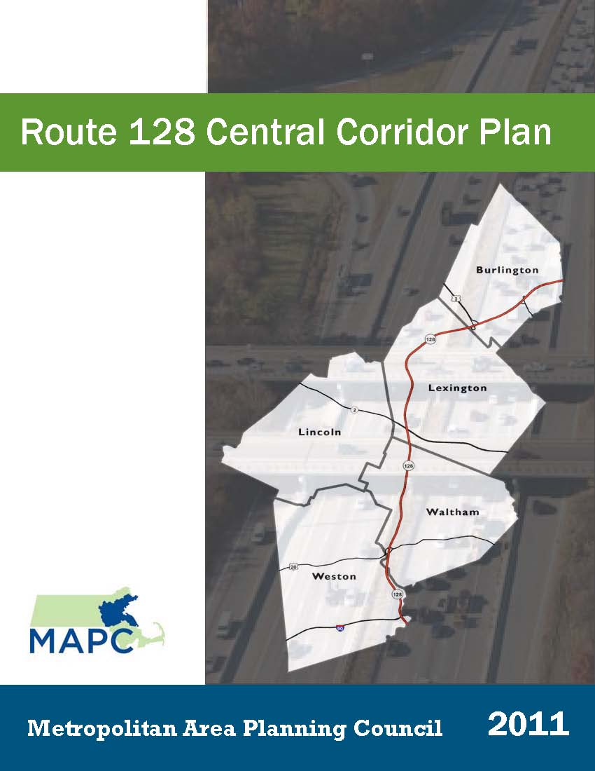 report cover for Route 128 central corridor plan