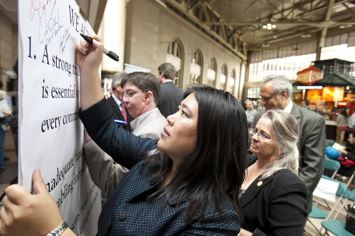 signing transportation pledge