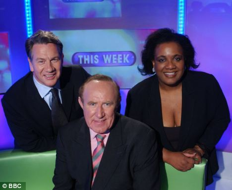Ruling: The BBC has been ordered to stop paying senior Labour MP Diane Abbott (right) thousands of pounds to appear with Andrew Neil (centre) and Michael Portillo on politics show This Week