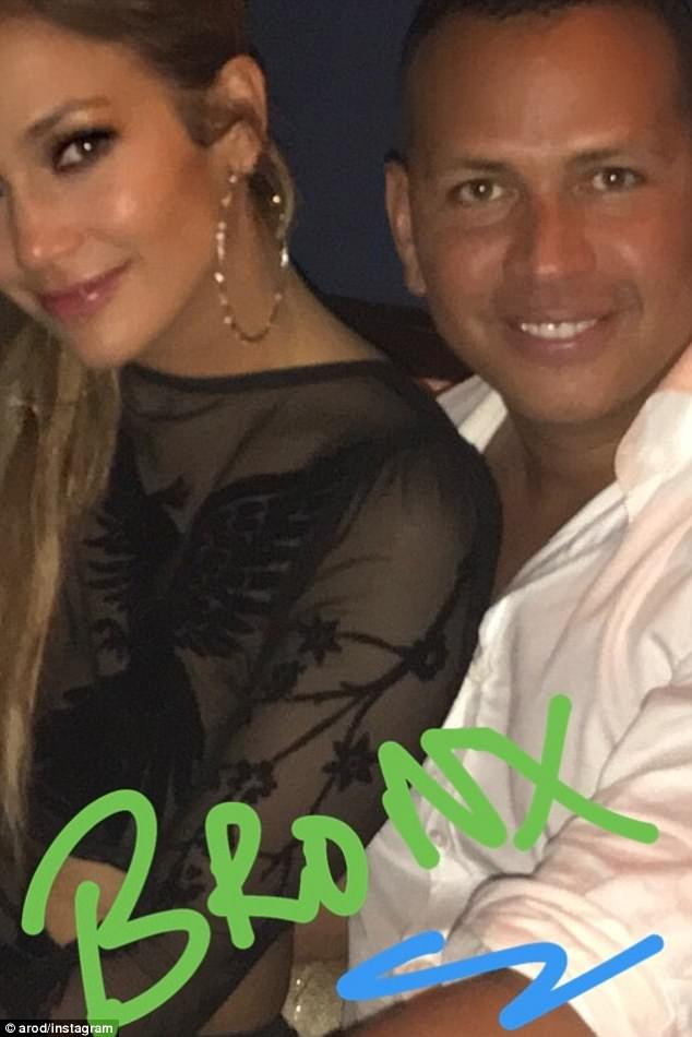 Hometown heroes: A-Rod shared this photo which he wrote Bronx on, representing the borough J-Lo was born in, he played for the Yankees, aka the Bronx Bombers until 2016