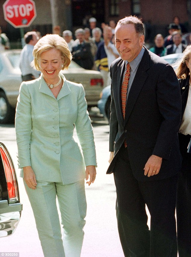 On the trail: Hillary Clinton campaigned heavily for Democrats in the 1998 Senate elections, including Chuck Schumer, who went on to defeat the Republican incumbent