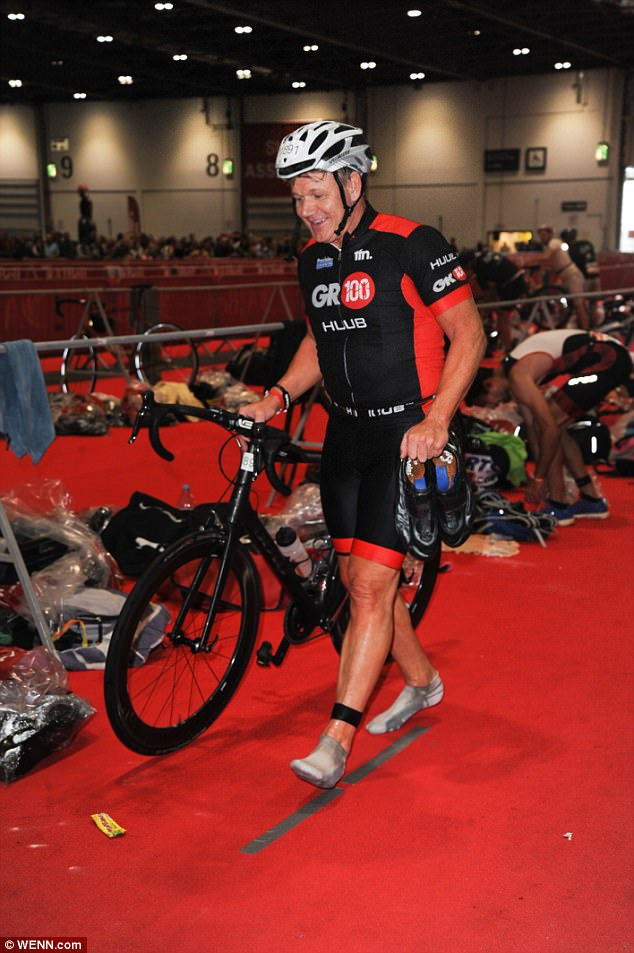 Tough hobby: Gordon, who has raced in dozens of marathons, ultra-marathons, half-Ironmans (a triathlon ending in a half-marathon) and the world's toughest Ironman competition in Hawaii, has previously had trouble competing due to an ongoing hamstring injury