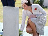 The Duchess of Cambridge laid flowers at war graves in Ypres today during a ceremony marking 100 years since the Battle of Passchendaele - where hundreds of thousands of allied soldiers fell