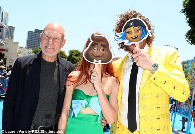 Troika: Sir Patrick and T.J. posed both as a duo and flanking Kate, the latter photo taken while T.J. and Kate held emoji signs - Kate's, unfortunately, of feces - over their faces