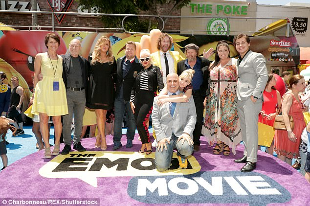 Group picture:Sony Pictures Animation President Kristine Belson, director Tony Leondis and producer Michelle Raimo Kouyate stood for a photo with a phalanx of The Emoji Movie actors consisting of T.J., Sir Patrick, Jennifer Coolidge, James Corden, Christina Aguilera, Anna Faris, Steven Wright and Jake T. Austin
