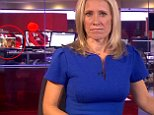 Sophie Raworth was presenting a piece about the England cricket team's victory over South Africa when a clip showing a woman stripping was playing in the background (left)