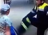 Brutal: The horrific fight was captured on CCTV security cameras at a hospital in the city of Valparaiso on the coast of central Chile
