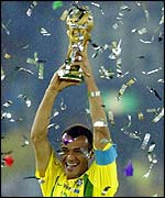 Brazil captain Cafu lifts the World Cup