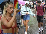 Pictured:Michaella McCollum, one half of the Peru Two drugs mule duo, wearing a bikini-style top as she enjoys Pride in Brighton today