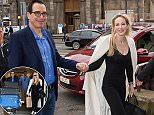 This old thing: Steven Mnuchin, 54, and his new bride Louise Linton (above) arrived in Edinburgh on Thursday to kick off their honeymoon