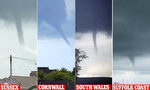 UK weather: Twisters spiral from the clouds with downpours