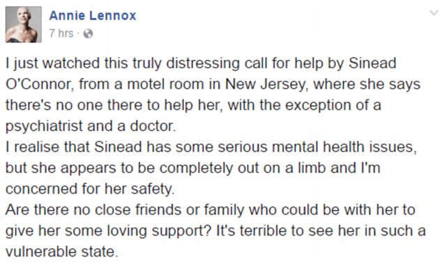 Lennox took to Facebook on Tuesday to address what she described as O'Connor's 'truly distressing call for help'.