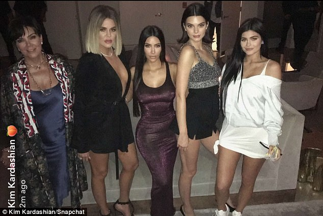 Family is everything: Kylie (r) was joined by her mom Kris Jenner and sisters Khloe Kardashian, Kim Kardashian and Kendall Jenner; siblings Kourtney and Rob were not at the bash