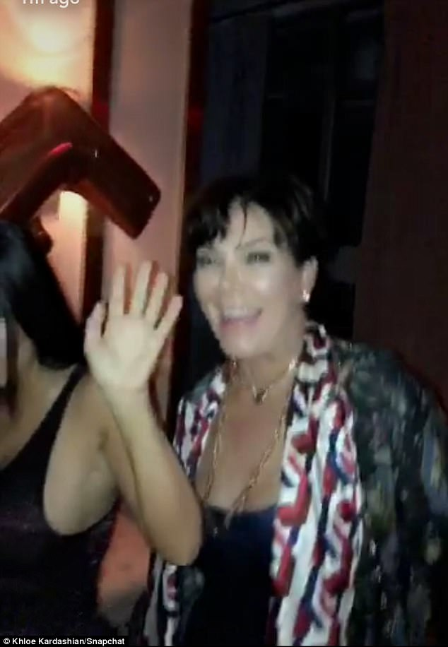 Mom's here too! Khloe snapped a beaming Kris during the bash