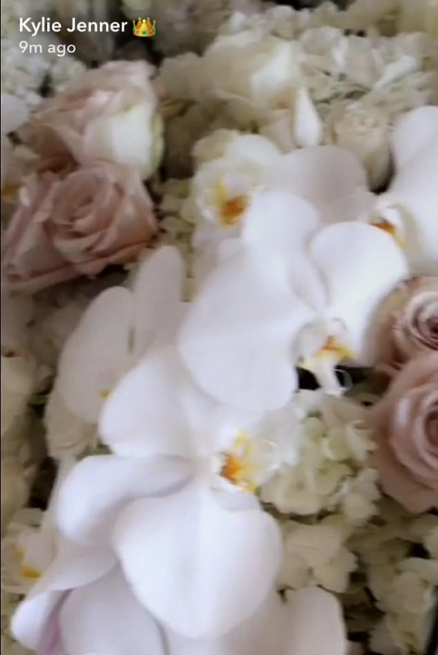 Fresh: She shared a close up of the flowers she received to her Snapchat on Thursday morning