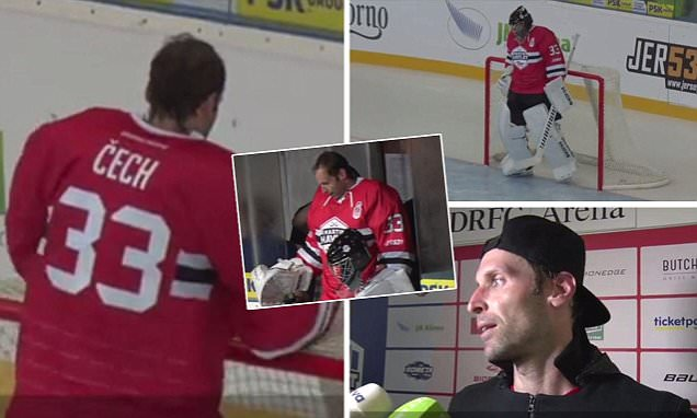 Petr Cech leaves Arsenal training for ice hockey match