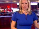 Paquin a punch: Viewers erupted into hysterics on Wednesday after catching an eyeful of a topless woman on a computer screen just inches behind solemn presenter Sophie Raworth