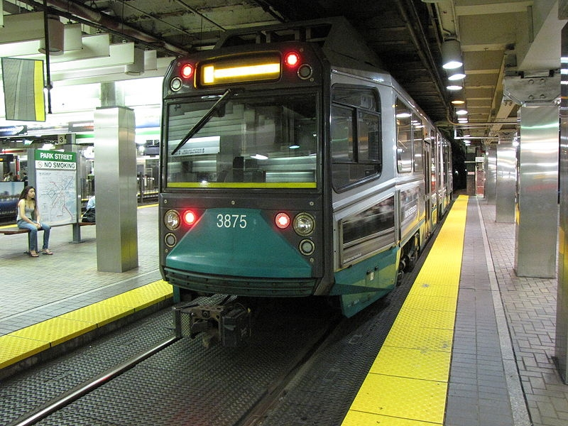 green line at Park street station