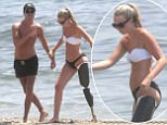 Leah Washington seen in the beach of Marbella, Spain, together with her boyfriend Joe Pugh