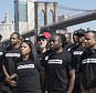 Retired New York City Police Officer Frank Serpico, center, stands with other members of law enforcement during a rally to show support for Colin Kaepernick, Saturday, Aug. 19, 2017, in New York. Kaepernick, the former quarterback for the San Francisco 49ers, became a controversial figure last year after he refused to stand for the national anthem. He said it was a protest against oppression of black people. (AP Photo/Mary Altaffer)