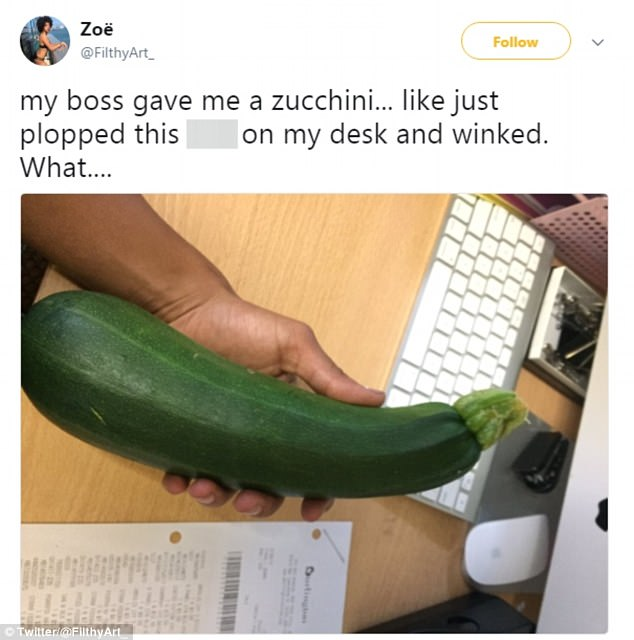 Screenwriter Zoë tweeted her confusion when her female boss gave her a zucchini with a wink - but many presumed her boss was a man and that it was sexually inappropriate