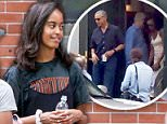 She comes in peace: Malia Obama moved into her new dormitory at Harvard University on Monday afternoon (above on Tuesday outside the dorm)